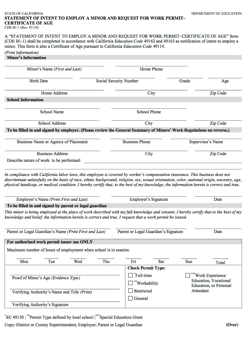 Work permit form, California Department of Education